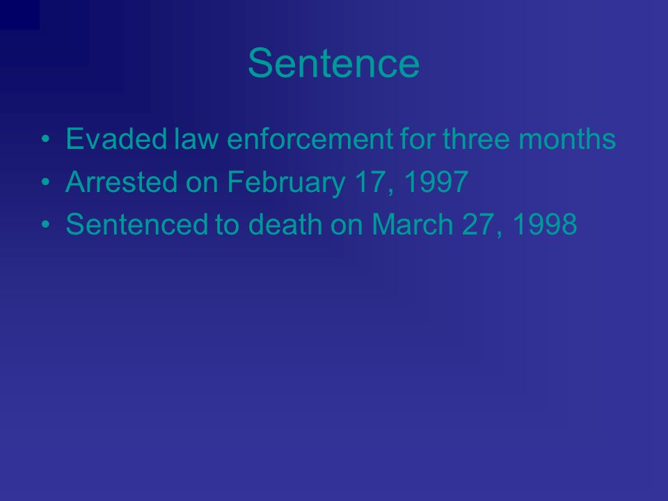 Sentence Evaded law enforcement for three months