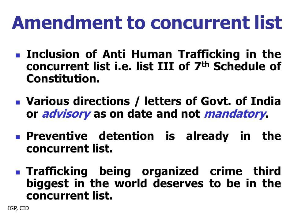 Amendment to concurrent list