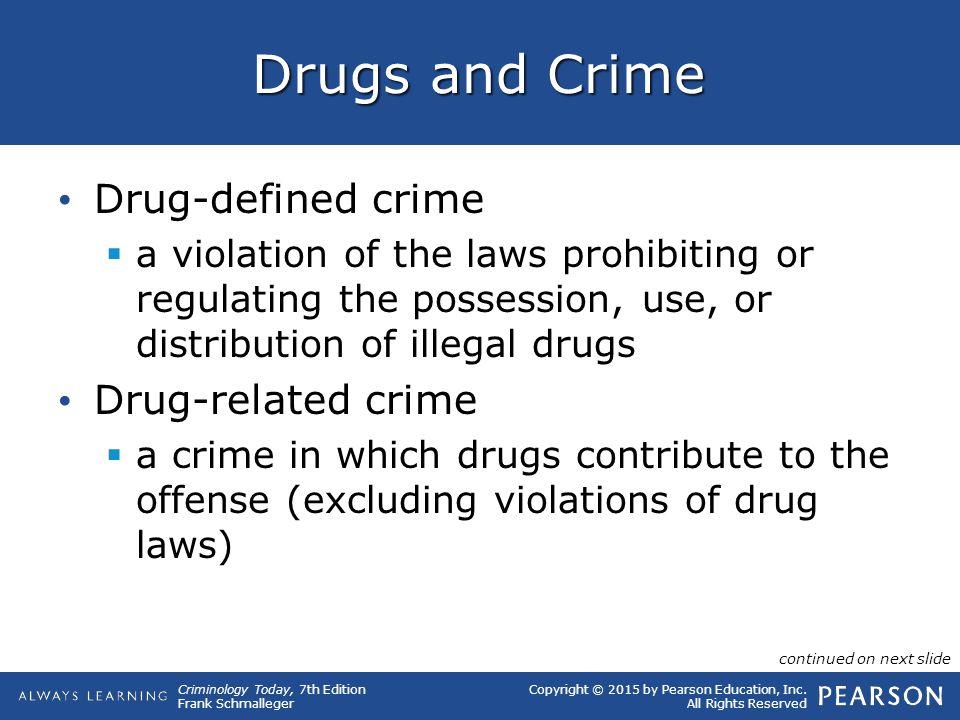 Drugs and Crime Drug-defined crime Drug-related crime