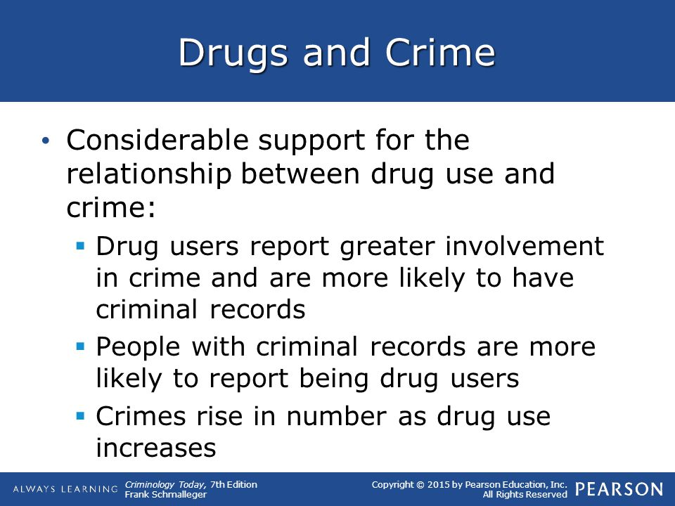 the relationship between drugs and crime Opinions in the literature on the relationship between cannabis and aggression  although a correlation between  many reports of drugs and crime have.