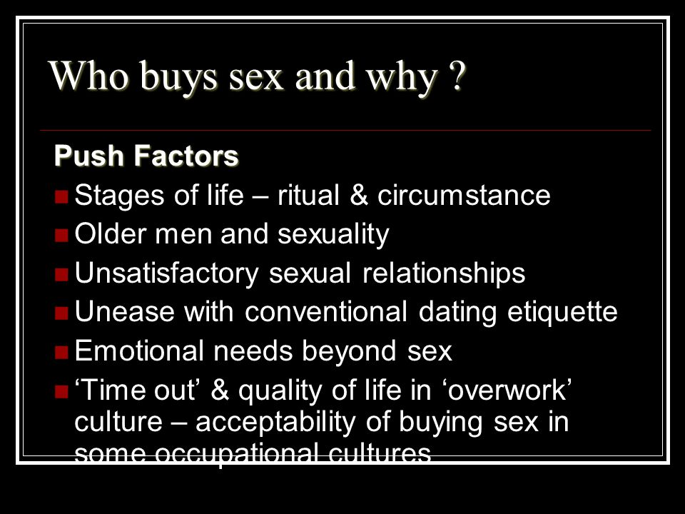 Who buys sex and why Push Factors