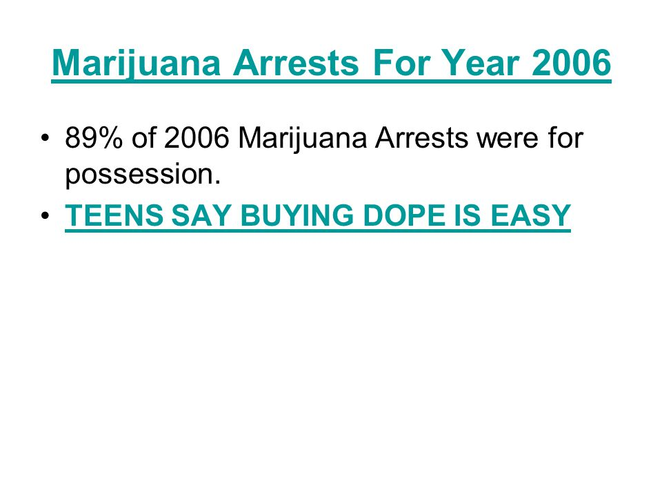 Marijuana Arrests For Year 2006
