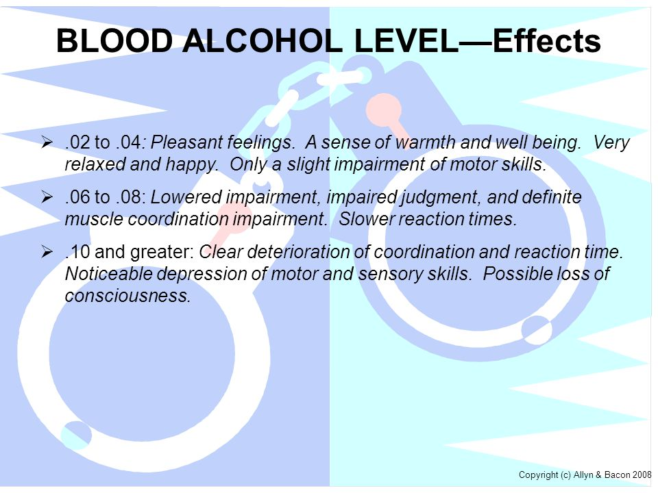 BLOOD ALCOHOL LEVEL—Effects