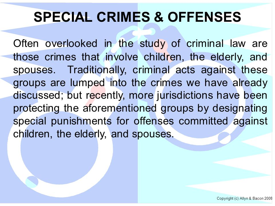 SPECIAL CRIMES & OFFENSES