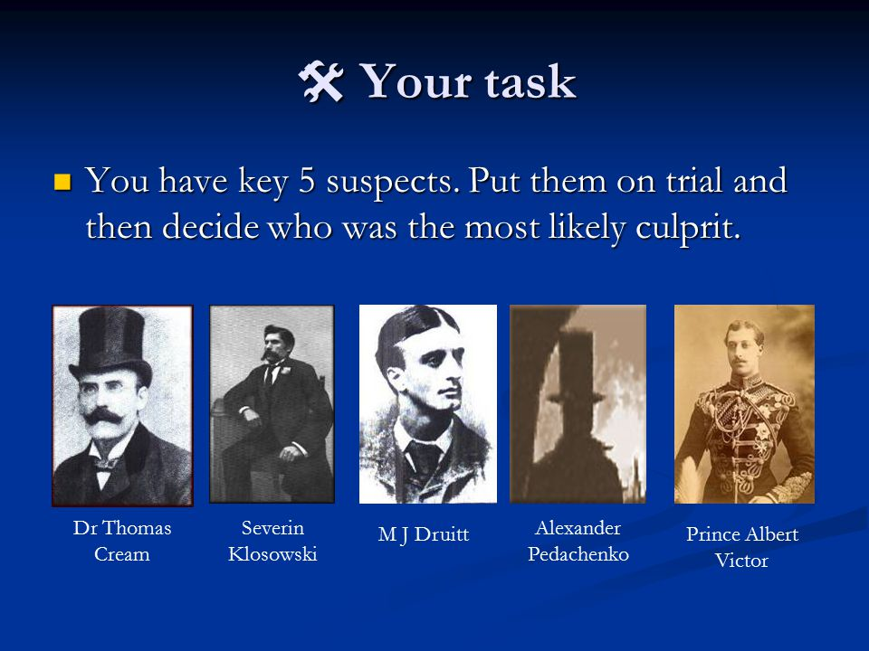  Your task You have key 5 suspects. Put them on trial and then decide who was the most likely culprit.