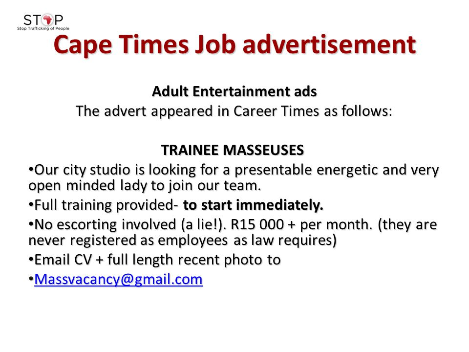 Cape Times Job advertisement