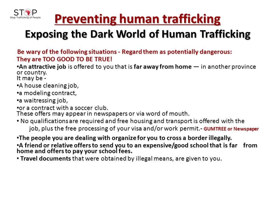 Preventing human trafficking Exposing the Dark World of Human Trafficking