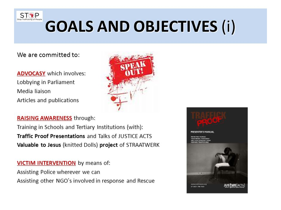 GOALS AND OBJECTIVES (i)
