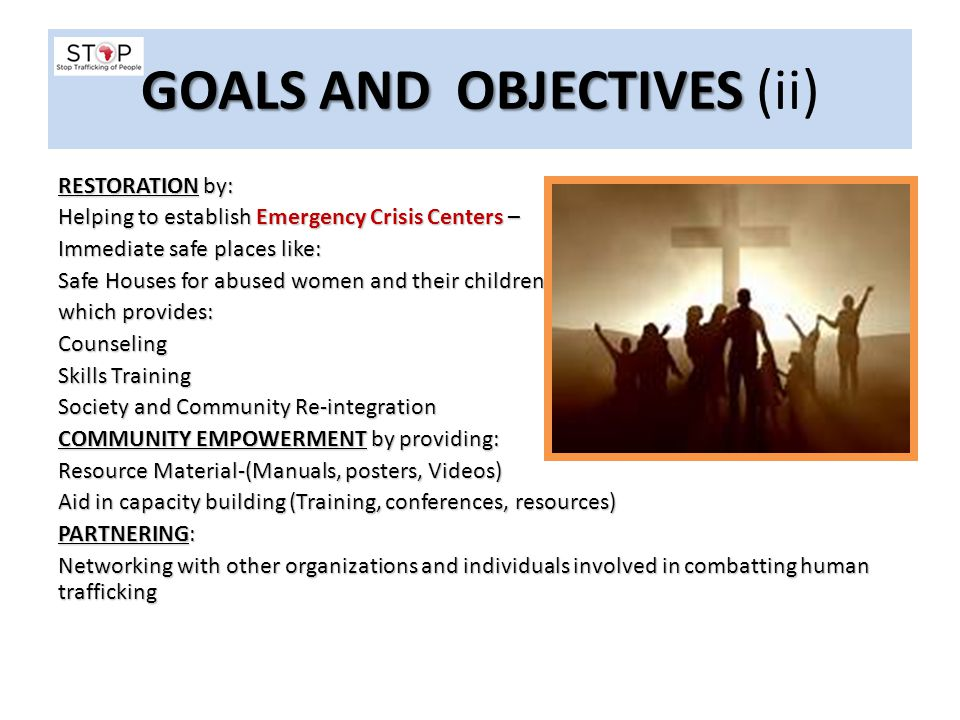 GOALS AND OBJECTIVES (ii)