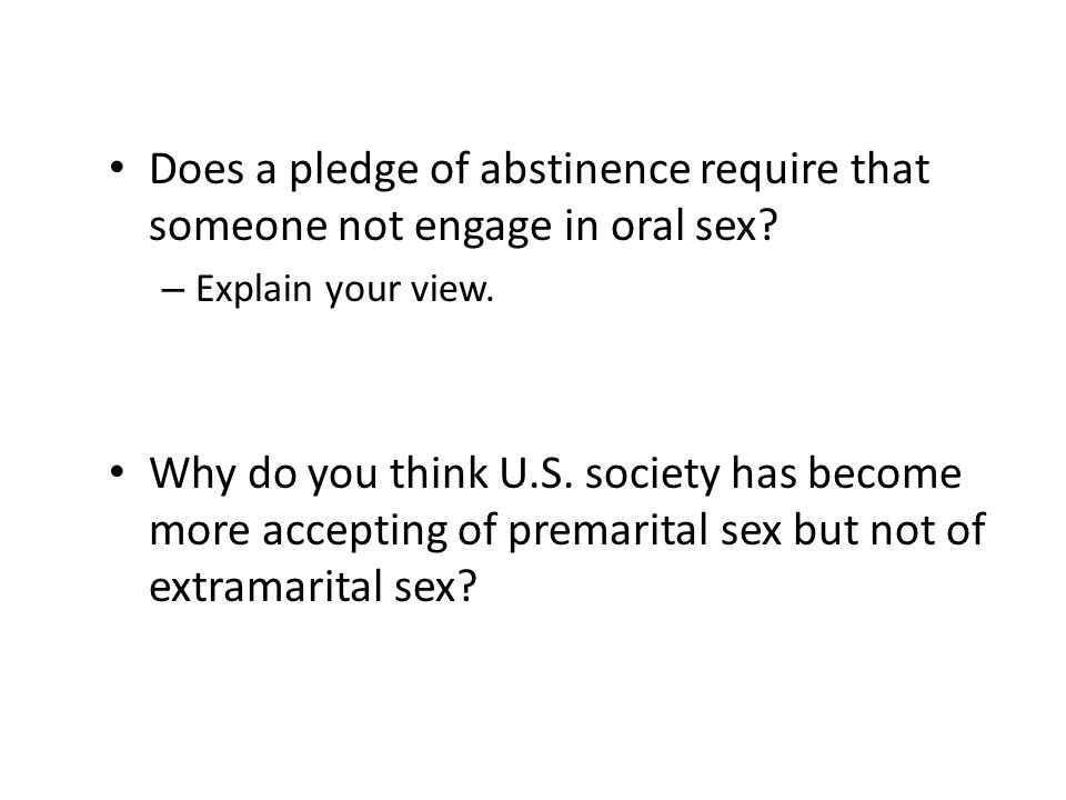 Does a pledge of abstinence require that someone not engage in oral sex