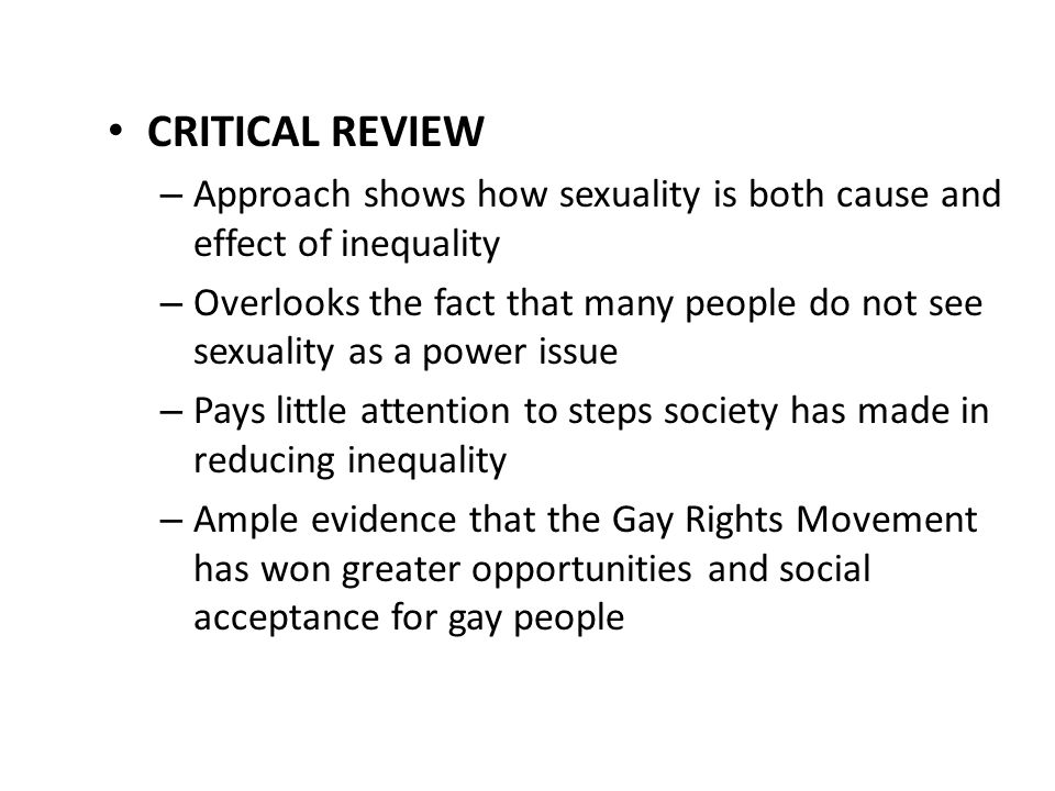 CRITICAL REVIEW Approach shows how sexuality is both cause and effect of inequality.