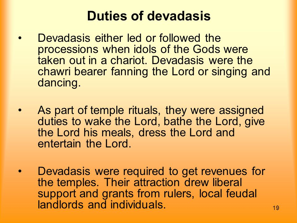 Duties of devadasis