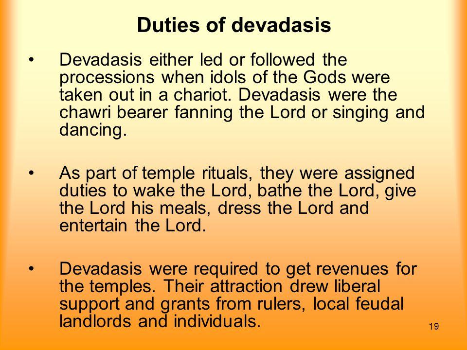 Duties of devadasis