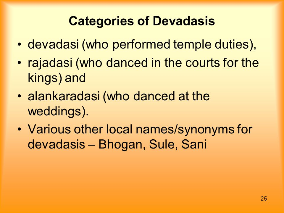 Categories of Devadasis