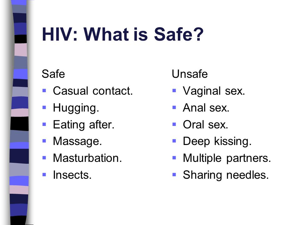 HIV: What is Safe Safe Casual contact. Hugging. Eating after.