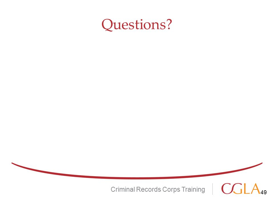 Questions Criminal Records Corps Training