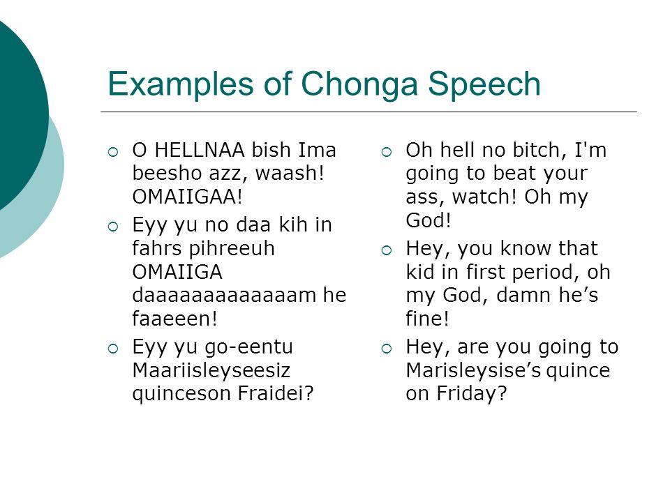 Examples of Chonga Speech