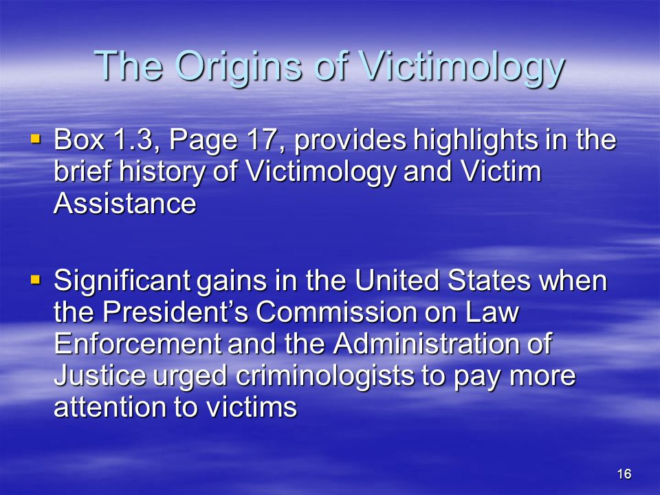 The Origins of Victimology