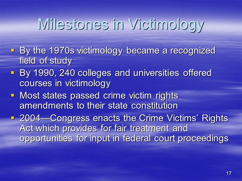 Milestones in Victimology