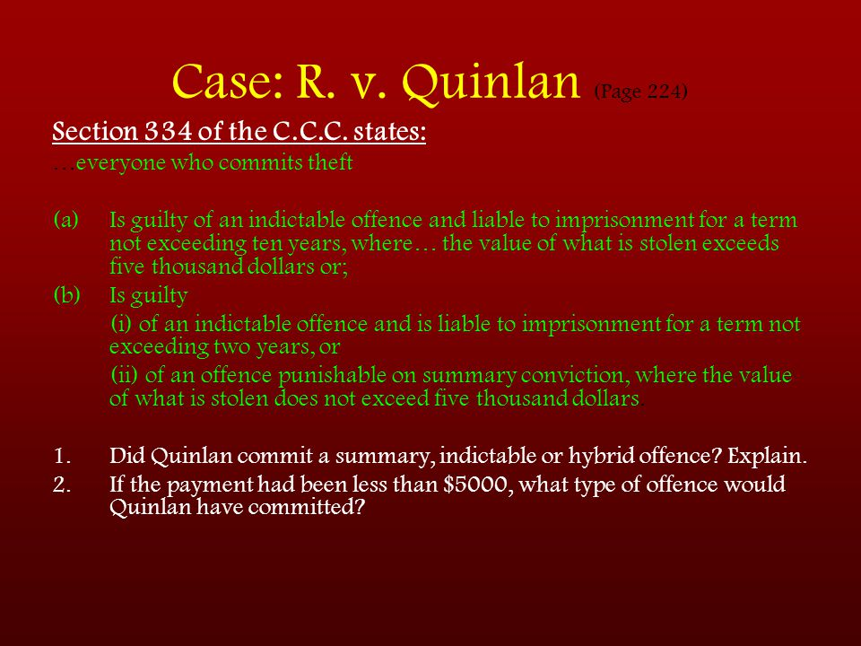 Case: R. v. Quinlan (Page 224)