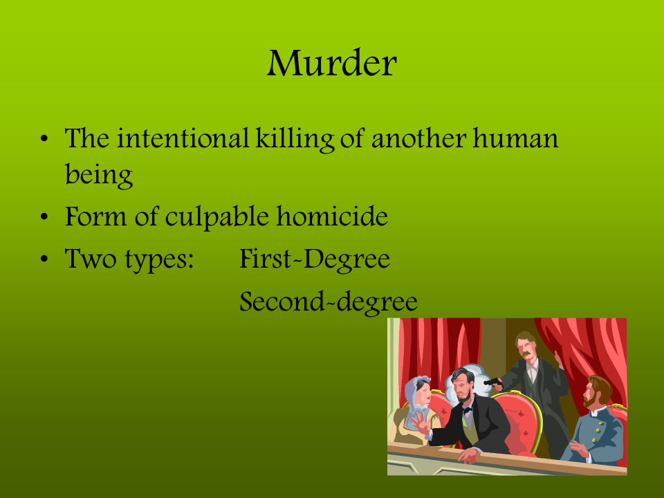 Murder The intentional killing of another human being