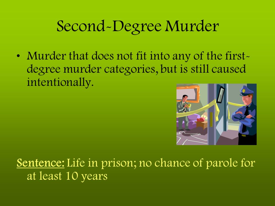 Second-Degree Murder Murder that does not fit into any of the first-degree murder categories, but is still caused intentionally.