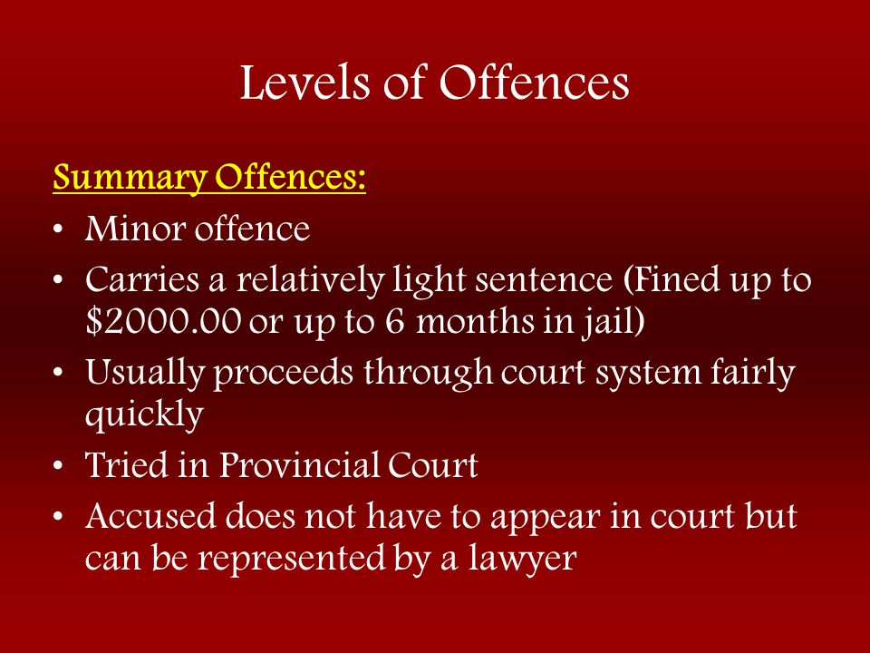 Levels of Offences Summary Offences: Minor offence