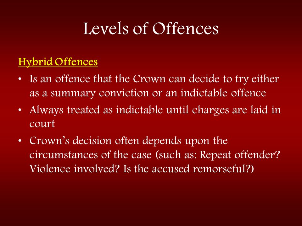 Levels of Offences Hybrid Offences