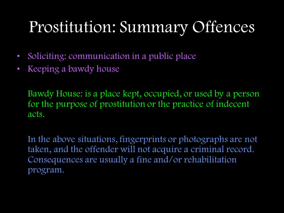 Prostitution: Summary Offences