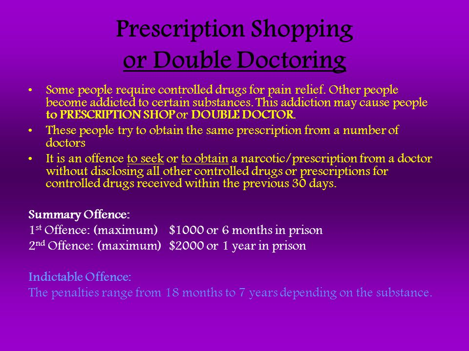 Prescription Shopping or Double Doctoring