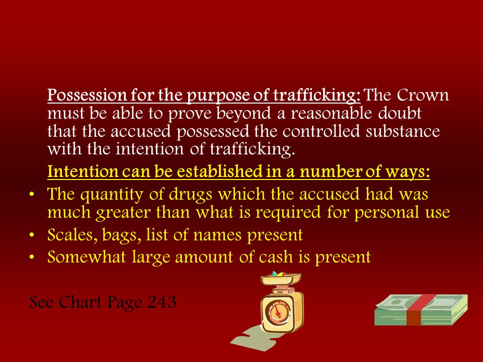 Possession for the purpose of trafficking: The Crown must be able to prove beyond a reasonable doubt that the accused possessed the controlled substance with the intention of trafficking.
