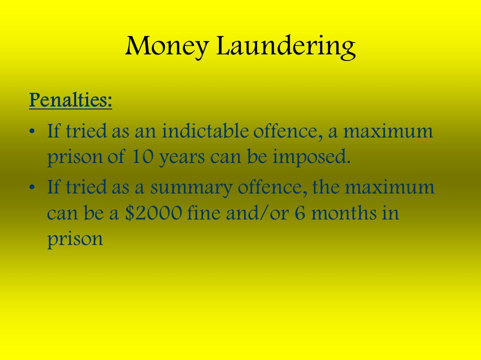 Money Laundering Penalties: