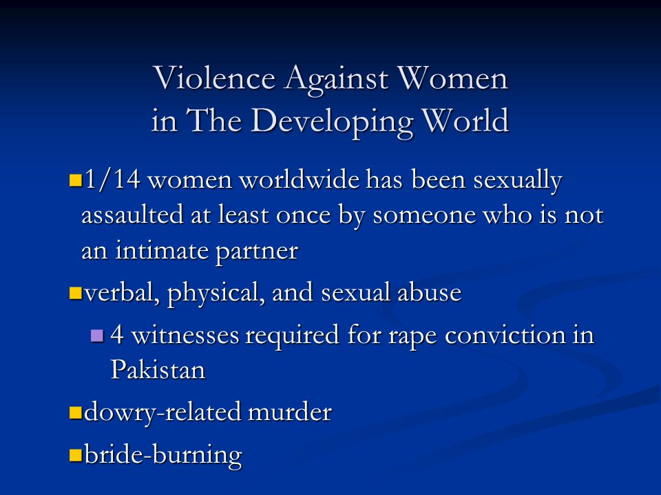 Violence Against Women in The Developing World