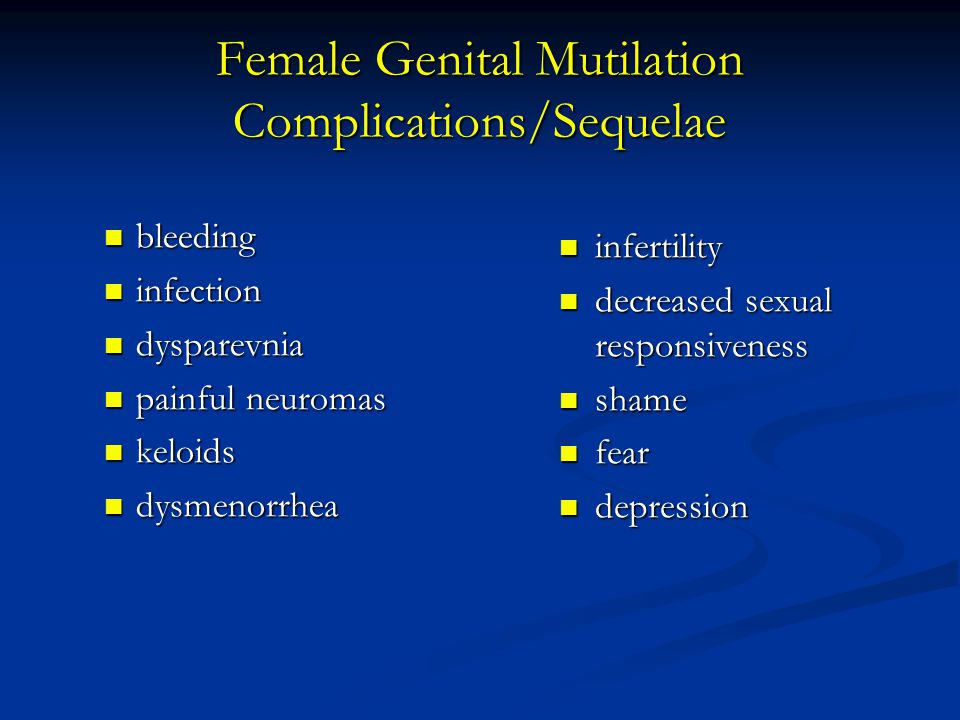 Female Genital Mutilation Complications/Sequelae