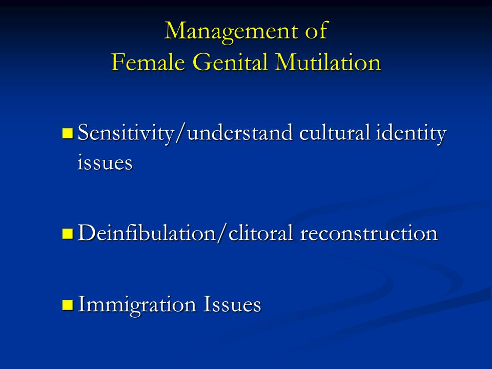 Management of Female Genital Mutilation