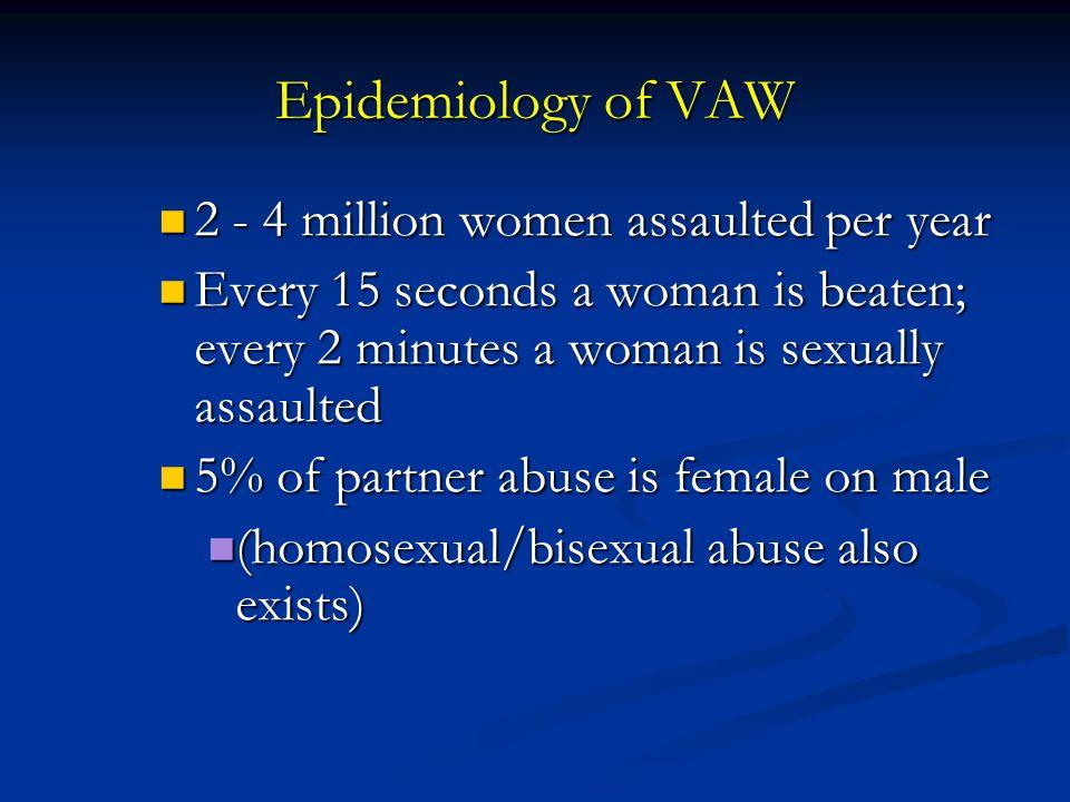 Epidemiology of VAW 2 - 4 million women assaulted per year