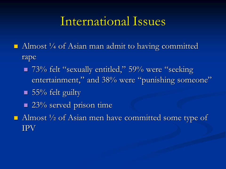 International Issues Almost ¼ of Asian man admit to having committed rape.