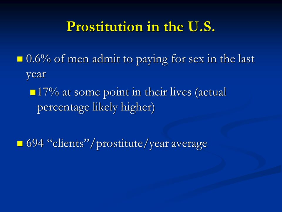 Prostitution in the U.S. 0.6% of men admit to paying for sex in the last year. 17% at some point in their lives (actual percentage likely higher)