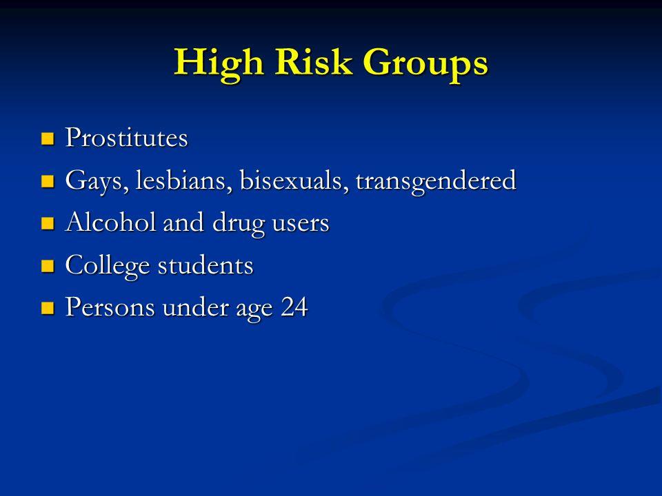High Risk Groups Prostitutes Gays, lesbians, bisexuals, transgendered