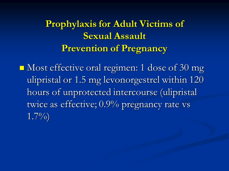 Prophylaxis for Adult Victims of Sexual Assault Prevention of Pregnancy