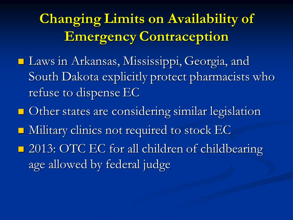 Changing Limits on Availability of Emergency Contraception