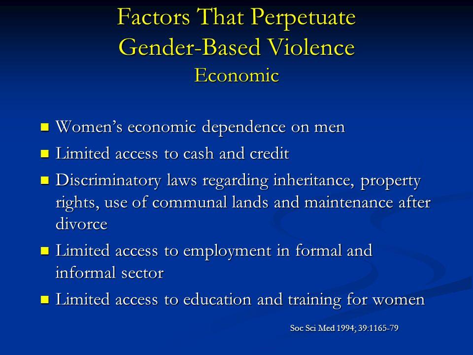 Factors That Perpetuate Gender-Based Violence Economic