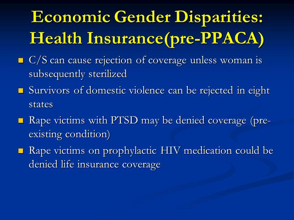 Economic Gender Disparities: Health Insurance(pre-PPACA)