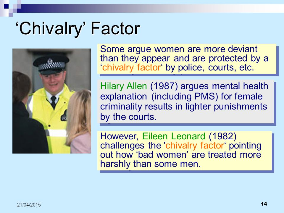 'Chivalry' Factor Some argue women are more deviant than they appear and are protected by a 'chivalry factor' by police, courts, etc.