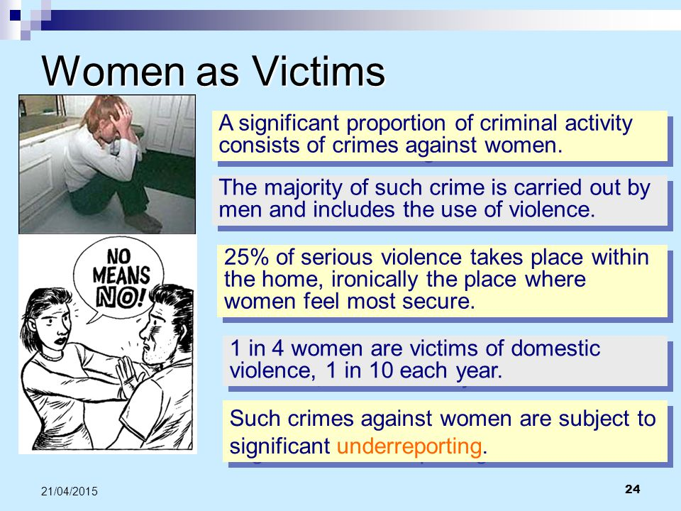Women as Victims A significant proportion of criminal activity consists of crimes against women.