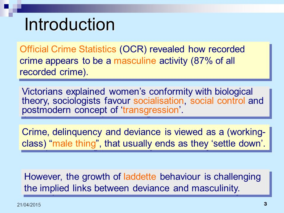 Introduction Official Crime Statistics (OCR) revealed how recorded crime appears to be a masculine activity (87% of all recorded crime).