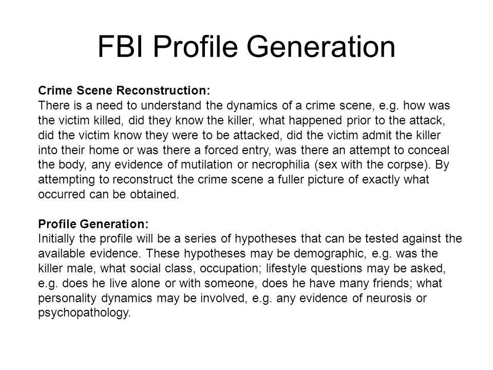 FBI Profile Generation