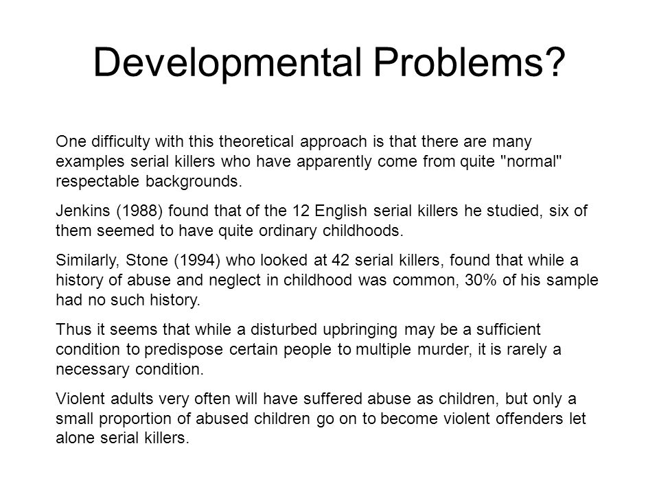 Developmental Problems