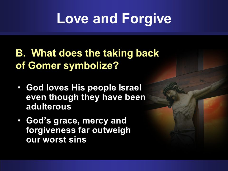 Love and Forgive B. What does the taking back of Gomer symbolize