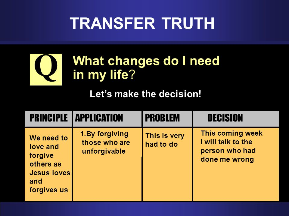 Q TRANSFER TRUTH What changes do I need in my life